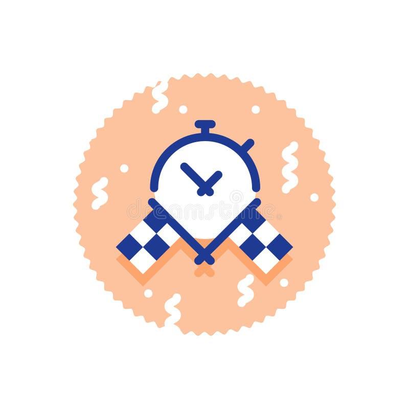 De super snelle leveringsdienst, beste de tijdresultaat van de rasuitdaging, kruiste geruit vlaggen en chronometerpictogram vector illustratie