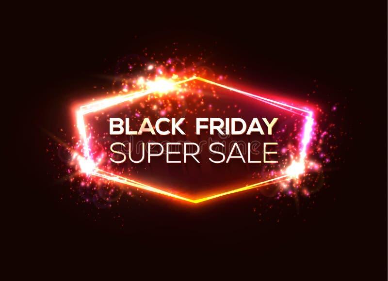 De Super Verkoop van Black Friday Glanzend het winkelen teken royalty-vrije illustratie