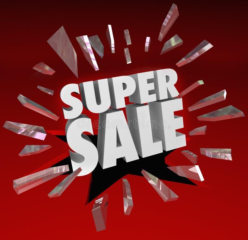 De super Verkoopwoorden verbrijzelen Besparingen Ev van Closeout van de Glas de Grote Ontruiming royalty-vrije illustratie