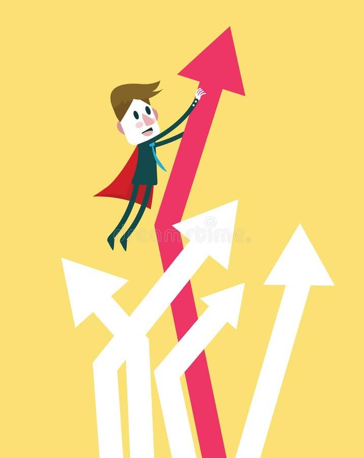 De super zakenman brengt de grafiekgroei ter sprake Vlak ontwerpkarakter vector illustratie