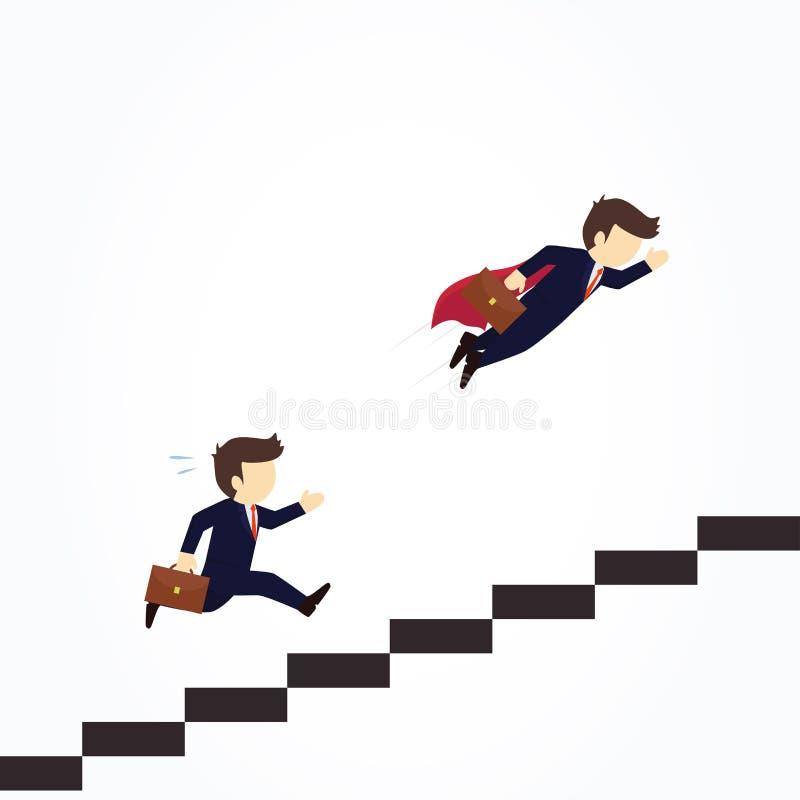 De super zakenman in rode kaap die gaat een andere zakenman over die treden beklimmen vliegen Vectorillustratie bedrijfsconcept royalty-vrije illustratie