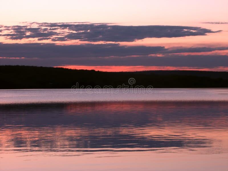 De Superieure Zonsondergang van het meer royalty-vrije stock foto's