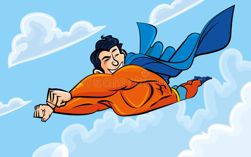 De superman die van het beeldverhaal met zijn erachter kaap vliegt vector illustratie