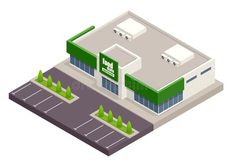 De supermarkt met parkeren en boodschappenwagentjes Detailhandel Creditcard s Vector isometrische illustratie supermarkt royalty-vrije illustratie