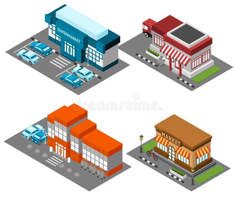 De supermarkt slaat geplaatste gebouwen isometrische pictogrammen op vector illustratie