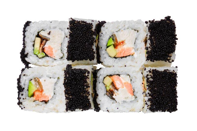 De sushi rolt met zalm, paling, kaas, avocado en zwarte tobikokaviaar Geïsoleerdj op witte achtergrond stock foto