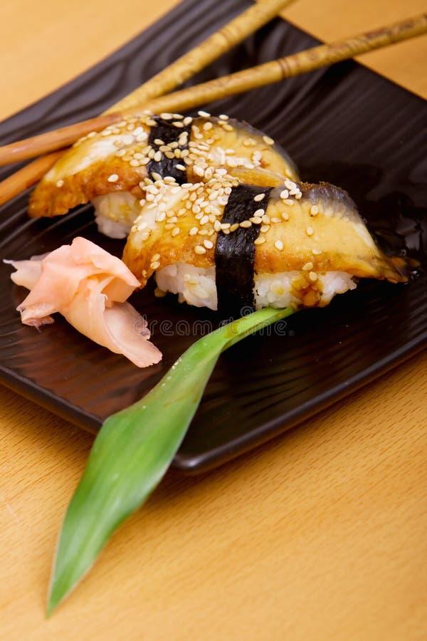 De sushi van de paling stock foto's