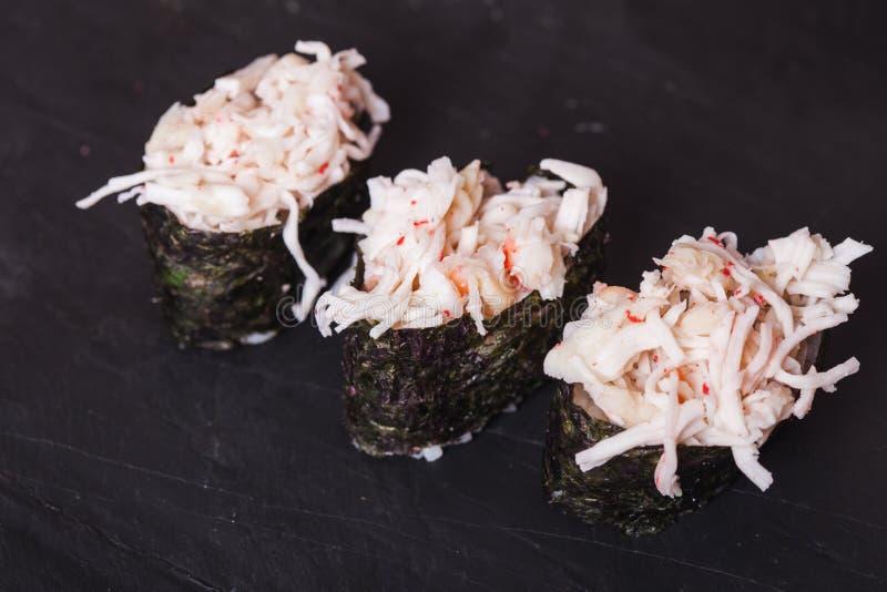 De sushi van Kani met krab stock afbeelding