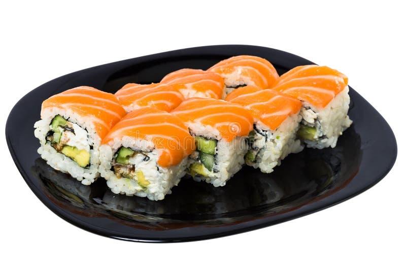 De sushi van Maki met Zalm. royalty-vrije stock afbeeldingen