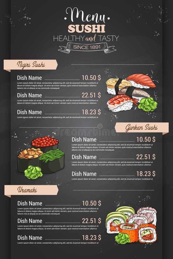 De sushimenu van de restaurant verticaal kleur royalty-vrije illustratie