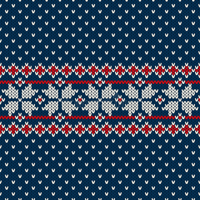 De sweaterontwerp van de de wintervakantie op de wol gebreide textuur vector illustratie