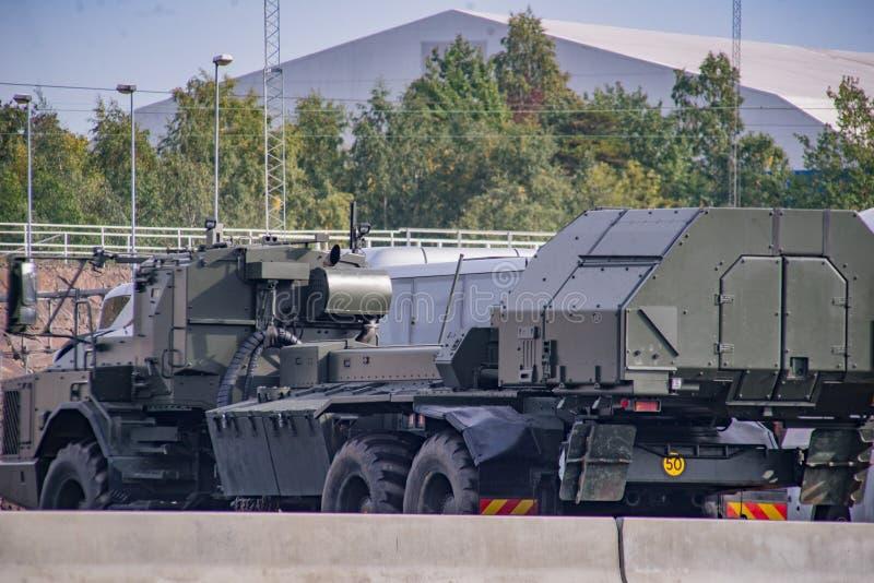 De Swedeshdefensie simuleert Russische militaire aanval stock afbeelding