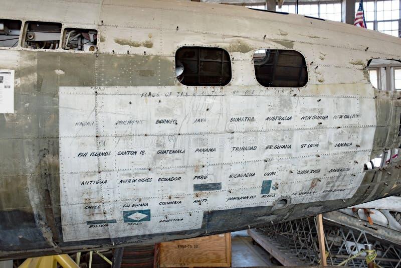 De Swoose-Fuselage met Bezochte Landen stock foto's
