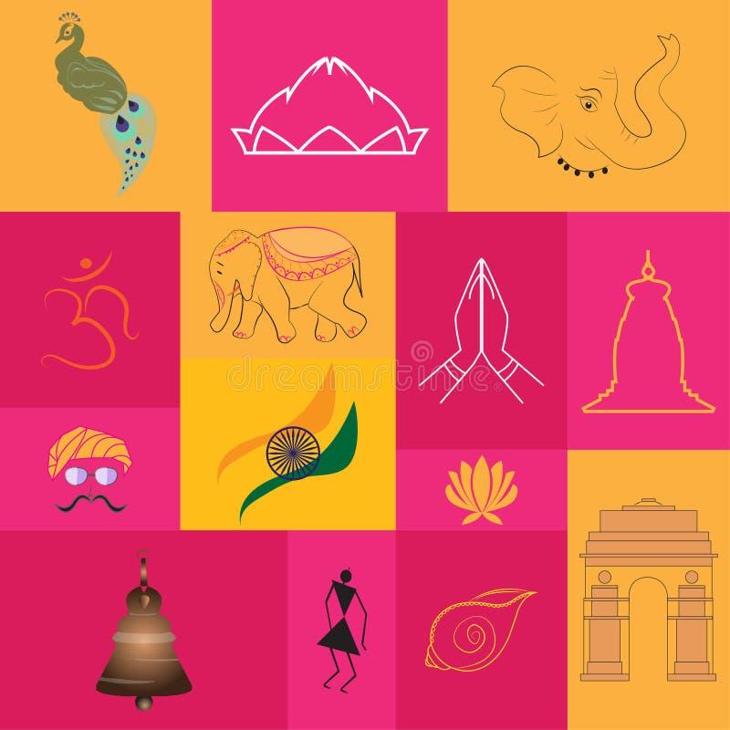 De symbolen en de monumenten van India royalty-vrije illustratie