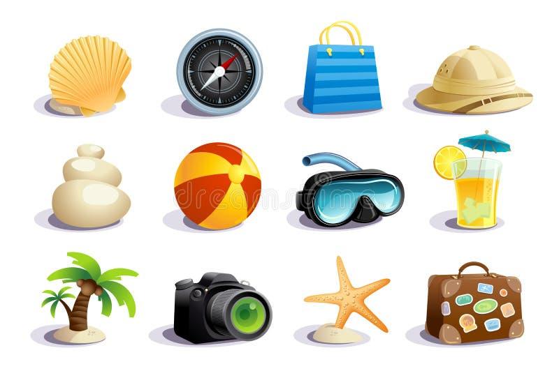 De symbolen en de pictogrammen vectorinzameling van de zomerdagen vector illustratie