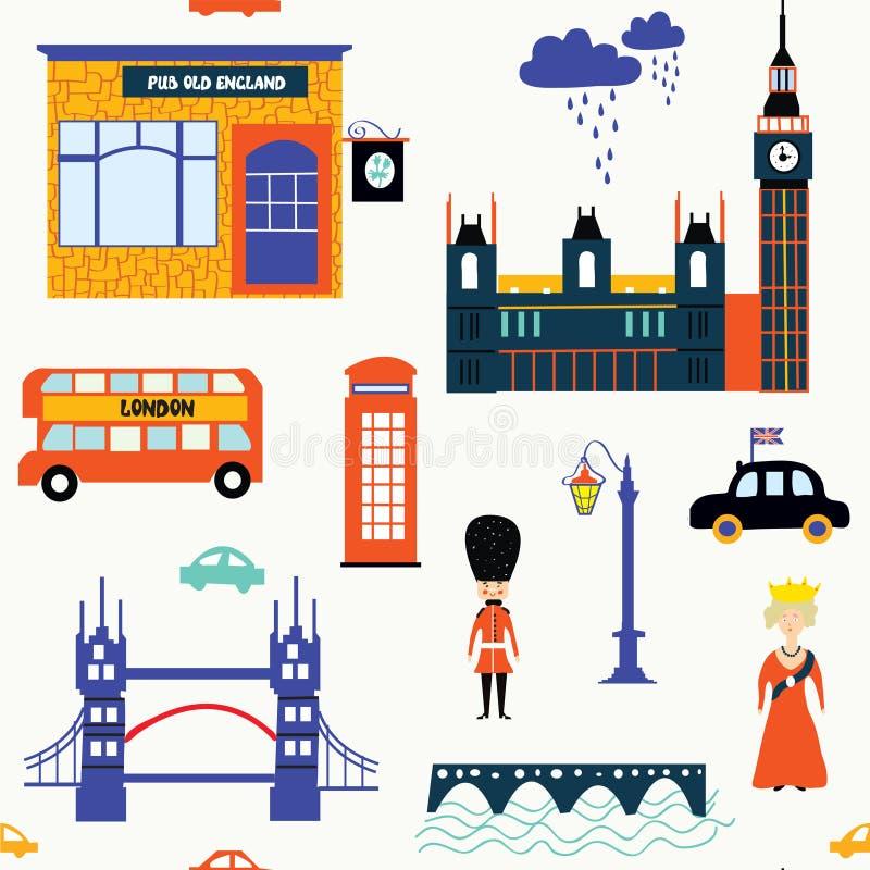 De symbolen grappige naadloos van Londen vector illustratie