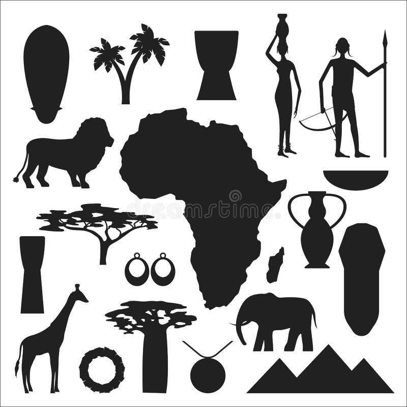 De symbolen van Afrika en reis vectorreeks royalty-vrije illustratie