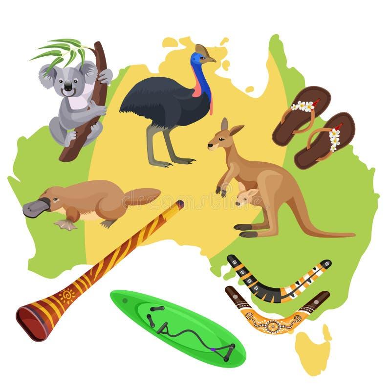 De symbolen van Australië op kaart Koala, kangoeroe, surfplank, boemerang, struisvogel, vogelbekdieren, vector illustratie