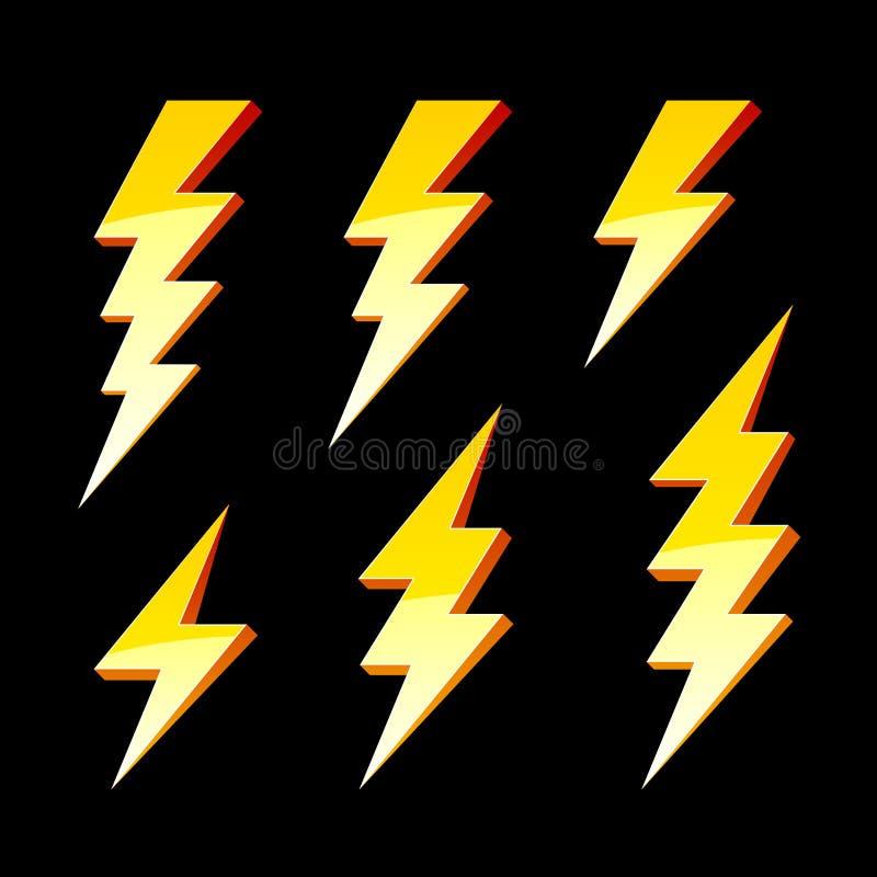 De symbolen van de bliksem stock illustratie