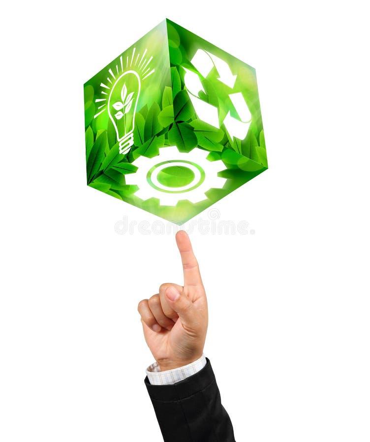 De symbolen van de industrieën op zakenmanVingertop stock afbeeldingen