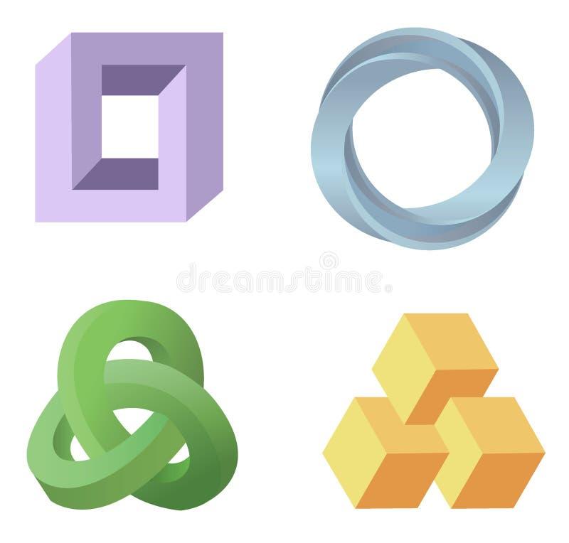 De symbolen van de optische illusie vector illustratie