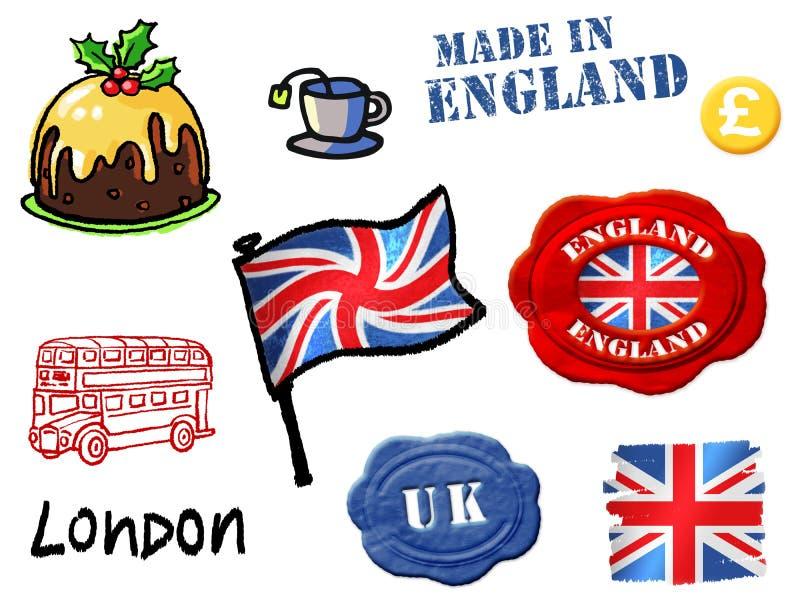 De symbolen van Engeland stock illustratie