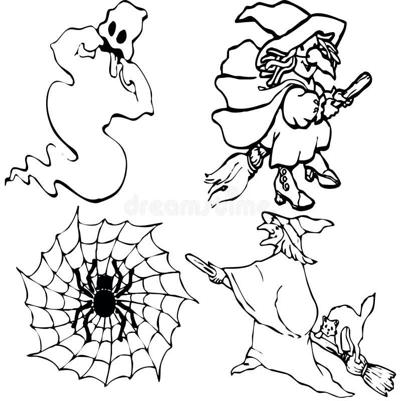 De symbolen van Halloween vector illustratie