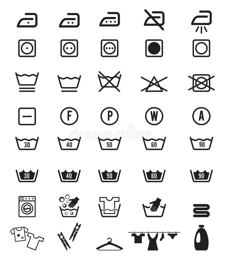 De Symbolen van het de Instructiepictogram van de wasserijwas vector illustratie