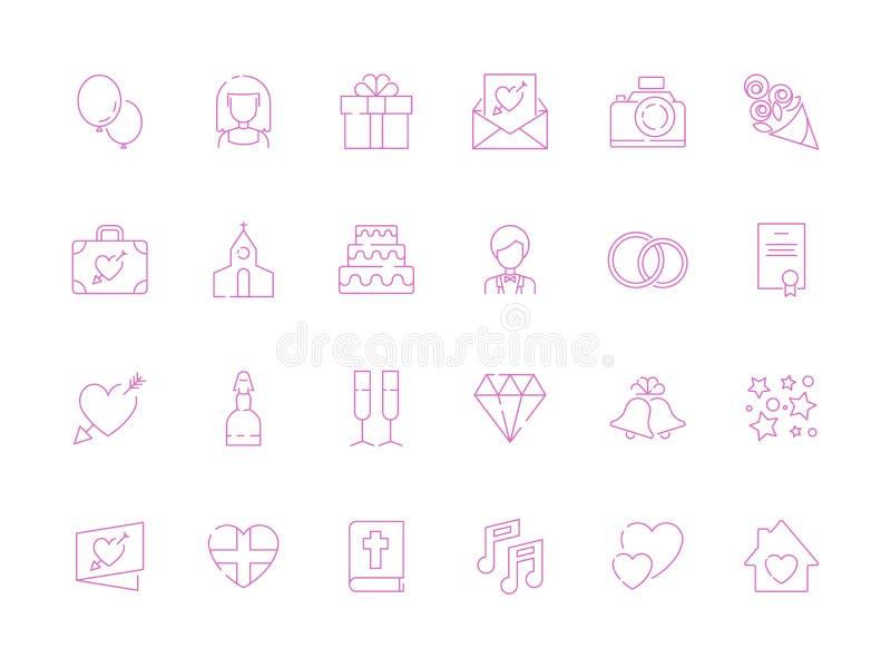 De symbolen van het huwelijk Van de de cakesfotografie van het liefdepaar de punten van de cameragiften voor gelukkige de viering royalty-vrije illustratie