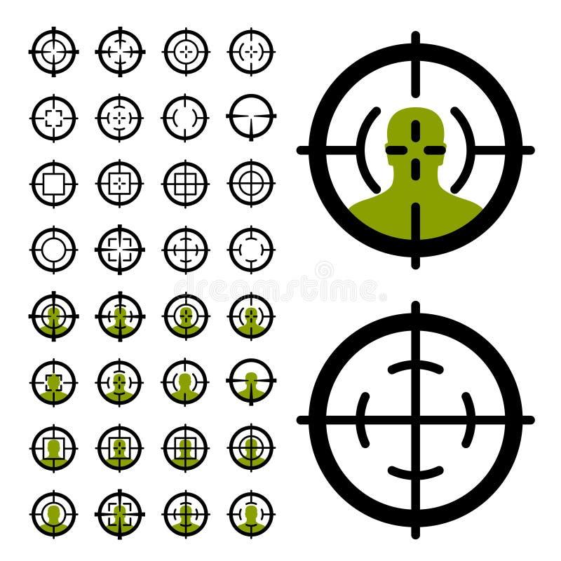 De symbolen van het kanon crosshair gezicht stock illustratie