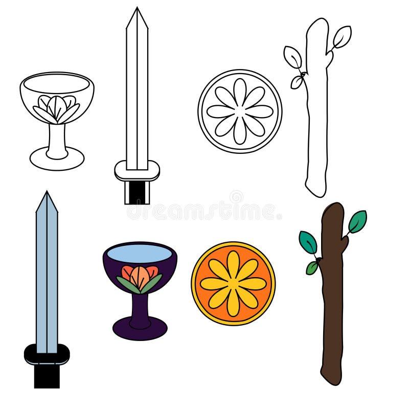De symbolen van het tarot royalty-vrije illustratie