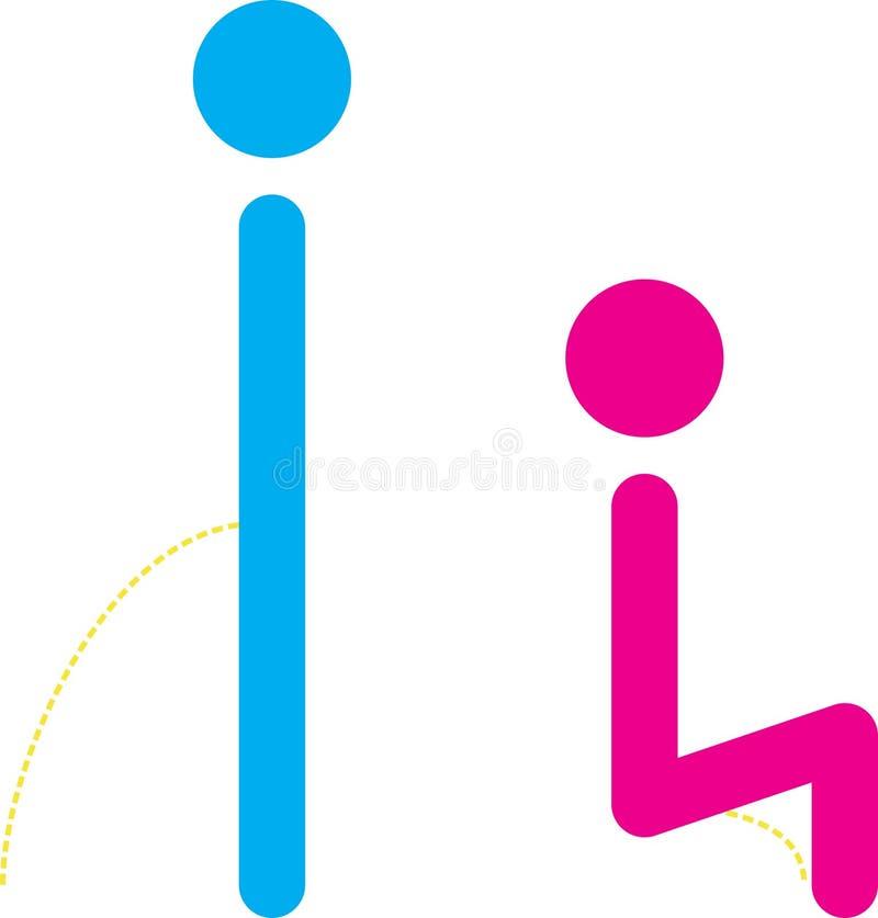 De symbolen van het toilet stock illustratie