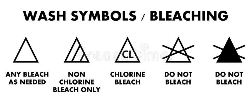 De symbolen van het wasserijbleken Pictogrammen voor verschillend type van kledingstuk B stock illustratie