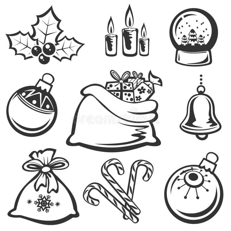 De symbolen van Kerstmis vector illustratie