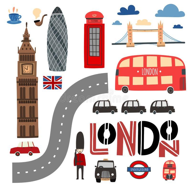 De symbolen van Londen overhandigen getrokken reeks Cabine, bus, Torenbrug enz. vector illustratie