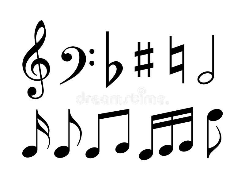 De symbolen van de muzieknota vector illustratie