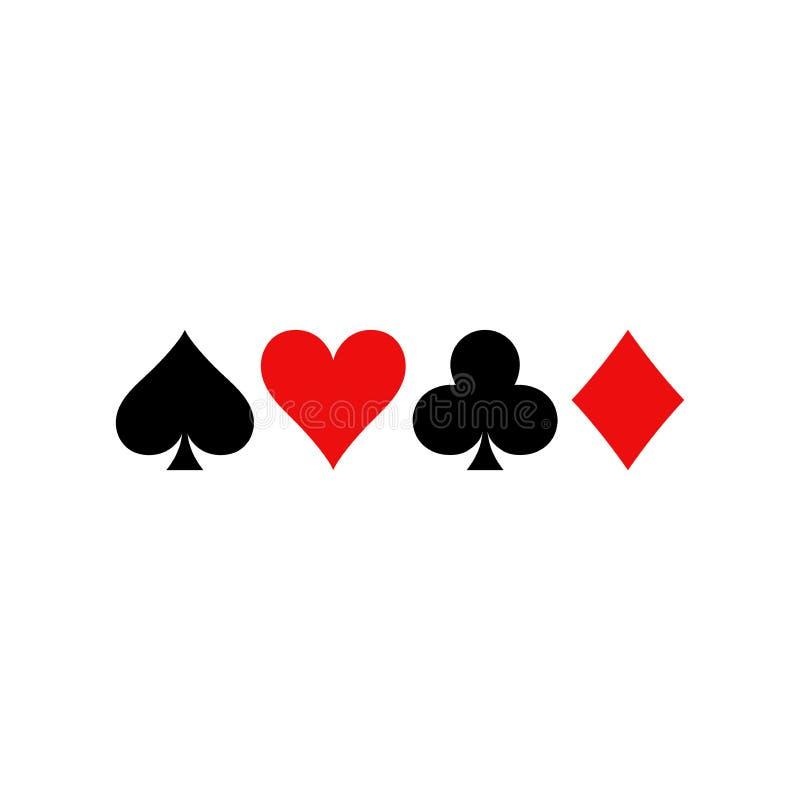 De symbolen van speelkaarten Diamanten, spades, clubs en hartenpictogramreeks royalty-vrije illustratie