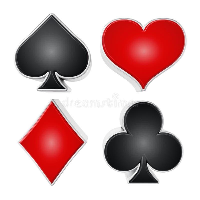 De symbolen van speelkaartkostuums op witte achtergrond worden geïsoleerd die 3D Illustratie vector illustratie