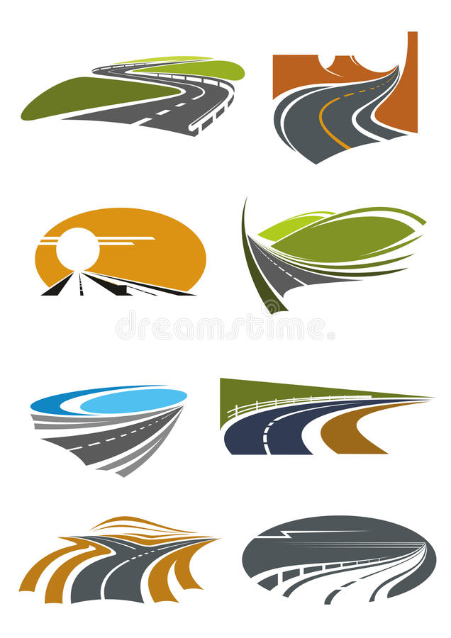 De symbolen van weglandschappen voor vervoersontwerp stock illustratie