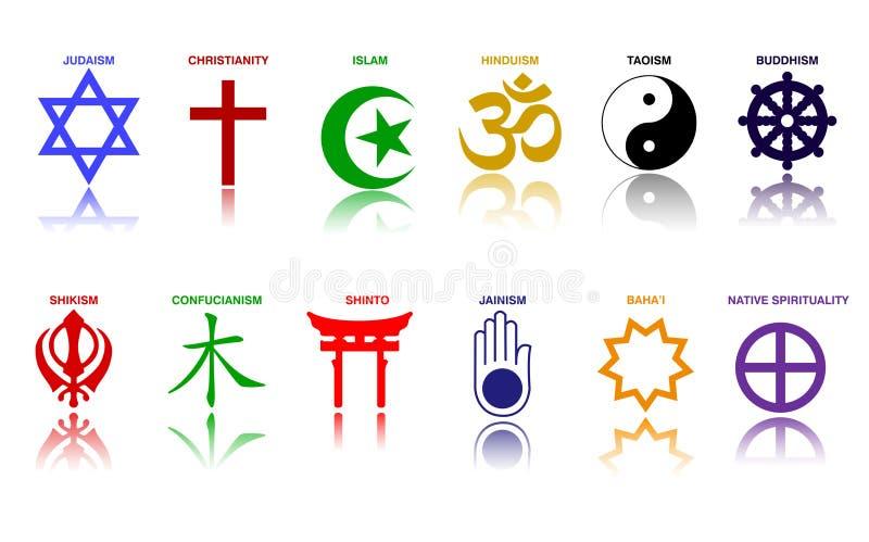 De symbolen van de wereldgodsdienst kleurden tekens van belangrijke religieuze groepen en godsdiensten vector illustratie