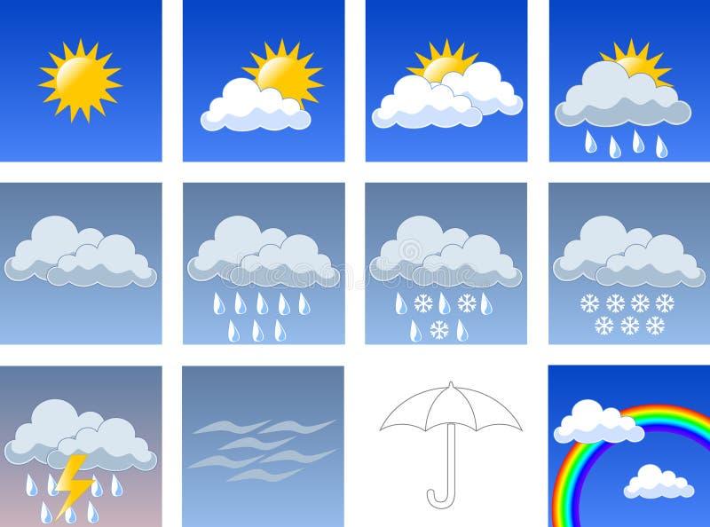 De symbolen van Wheather stock illustratie