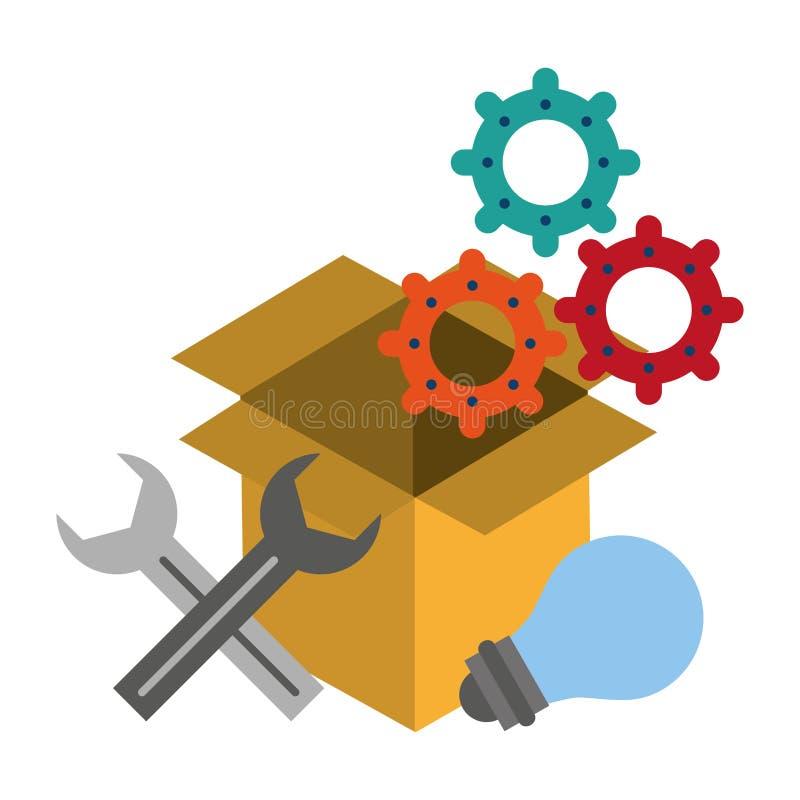 De symbolen vectorillustratie van de technische ondersteuningtechnologie royalty-vrije illustratie