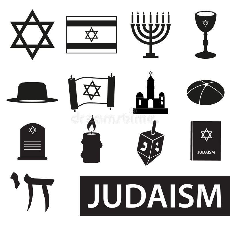 De symbolen vectorreeks van de judaïsmegodsdienst pictogrammen eps10 vector illustratie
