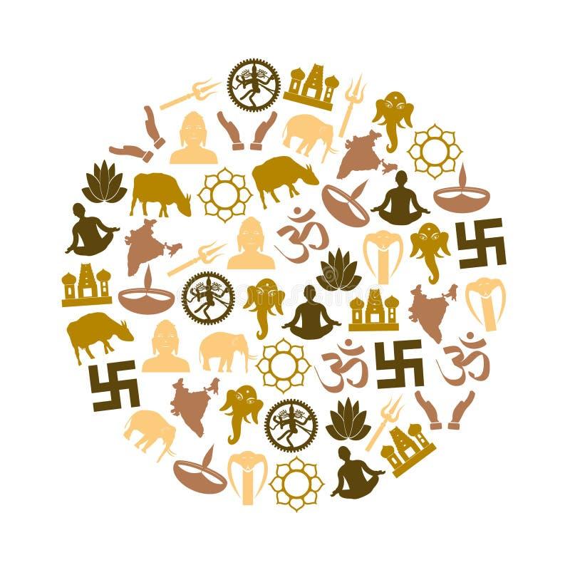 De symbolen vectorreeks van Hindoeïsmegodsdiensten pictogrammen in cirkel eps10 vector illustratie