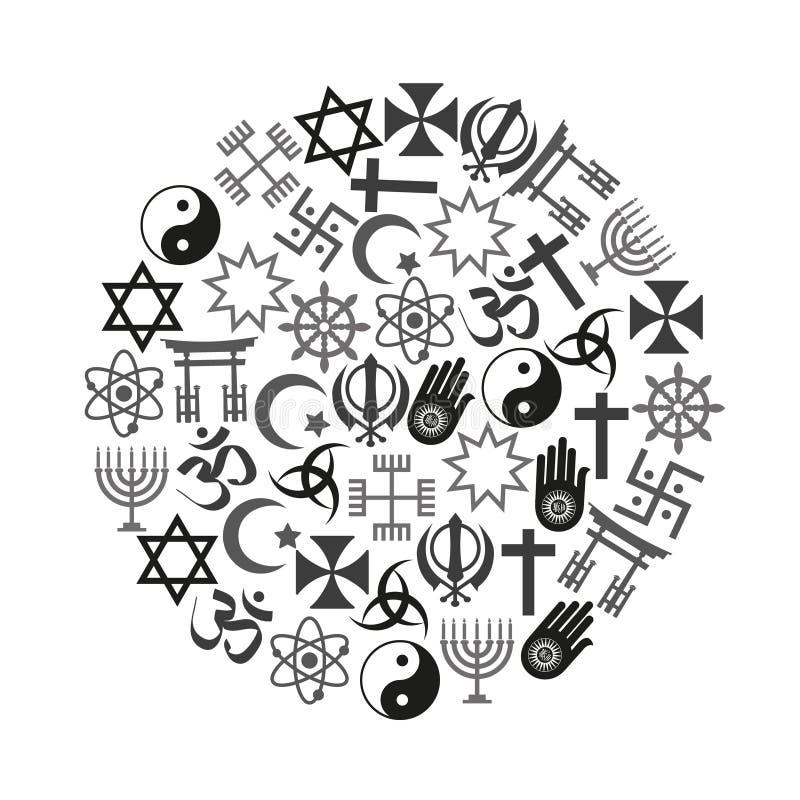 De symbolenreeks van wereldgodsdiensten pictogrammen in cirkel eps10 vector illustratie