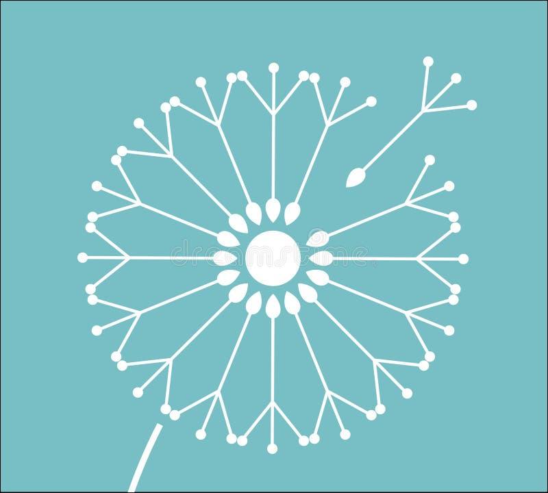 De symbolische zaden van de paardebloembloem op blauwe achtergrond vector illustratie