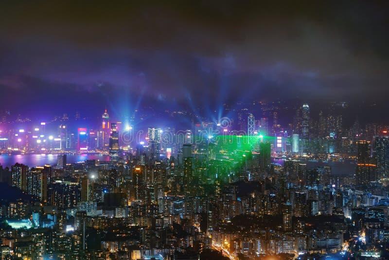 De symfonie van lichten toont in Hong Kong Downtown, Republiek China Financiële districts en commerciële centra in technologie sl stock foto's