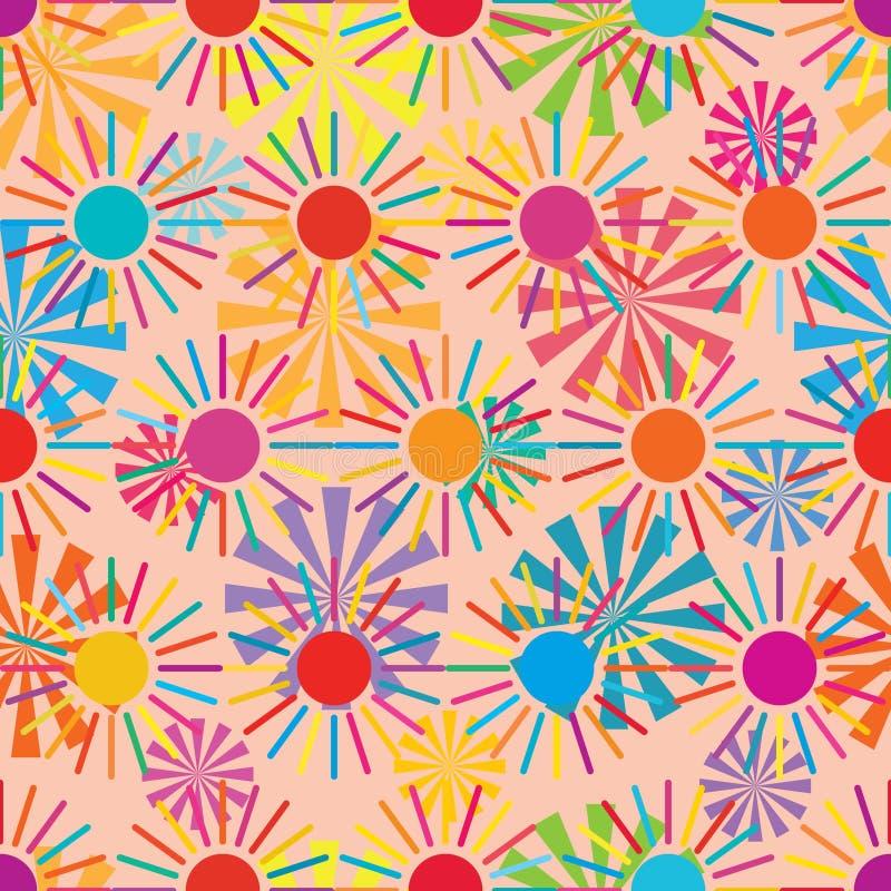 De symmetrie naadloos patroon van de zon kleurrijk straal royalty-vrije illustratie