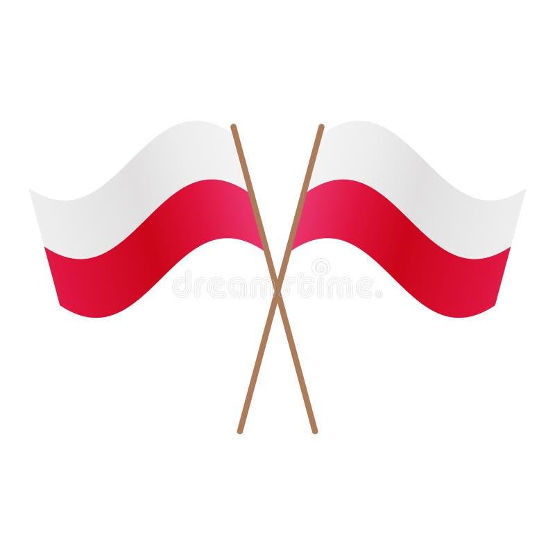 De symmetrische Gekruiste vlaggen van Polen vector illustratie