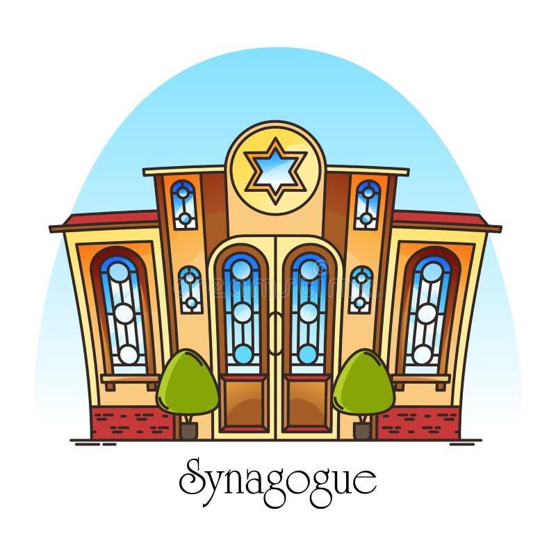 De synagogebouw of Joodse tempel Synagog royalty-vrije illustratie